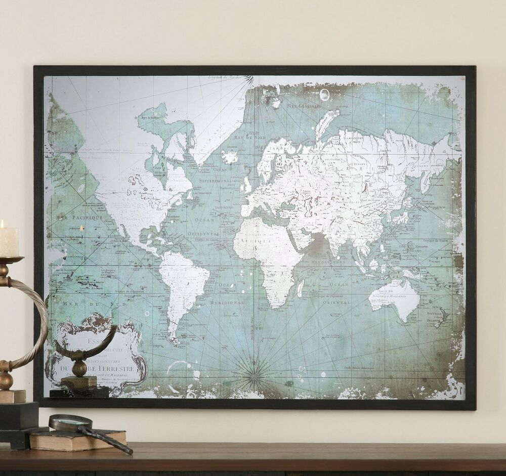 Mirrored glass world map silver antique style oversize for Mirror window wall decor