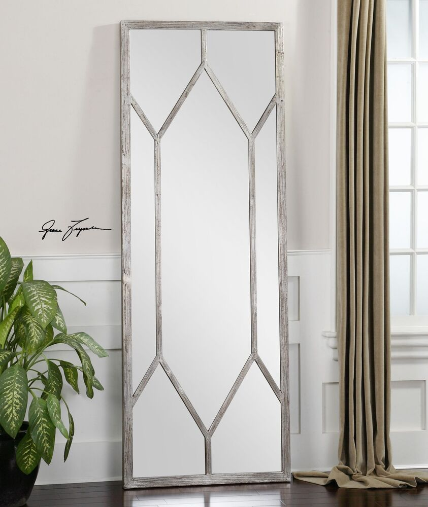 Full length silver geometric window pane mirror wall for Floor wall mirror