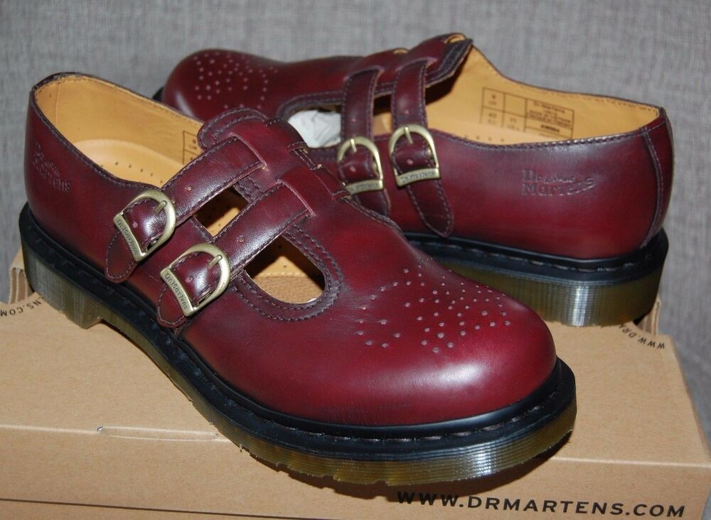 dr martens 8065 cherry red rub off twin strap brogue mary. Black Bedroom Furniture Sets. Home Design Ideas