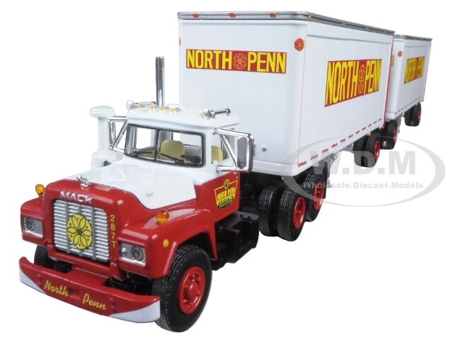MACK R MODEL TRUCK NORTH PENN 28' DUAL PUP TRAILERS 1/64