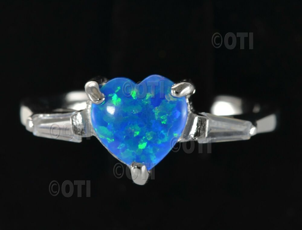 Fire Opal Heart Ring Silver