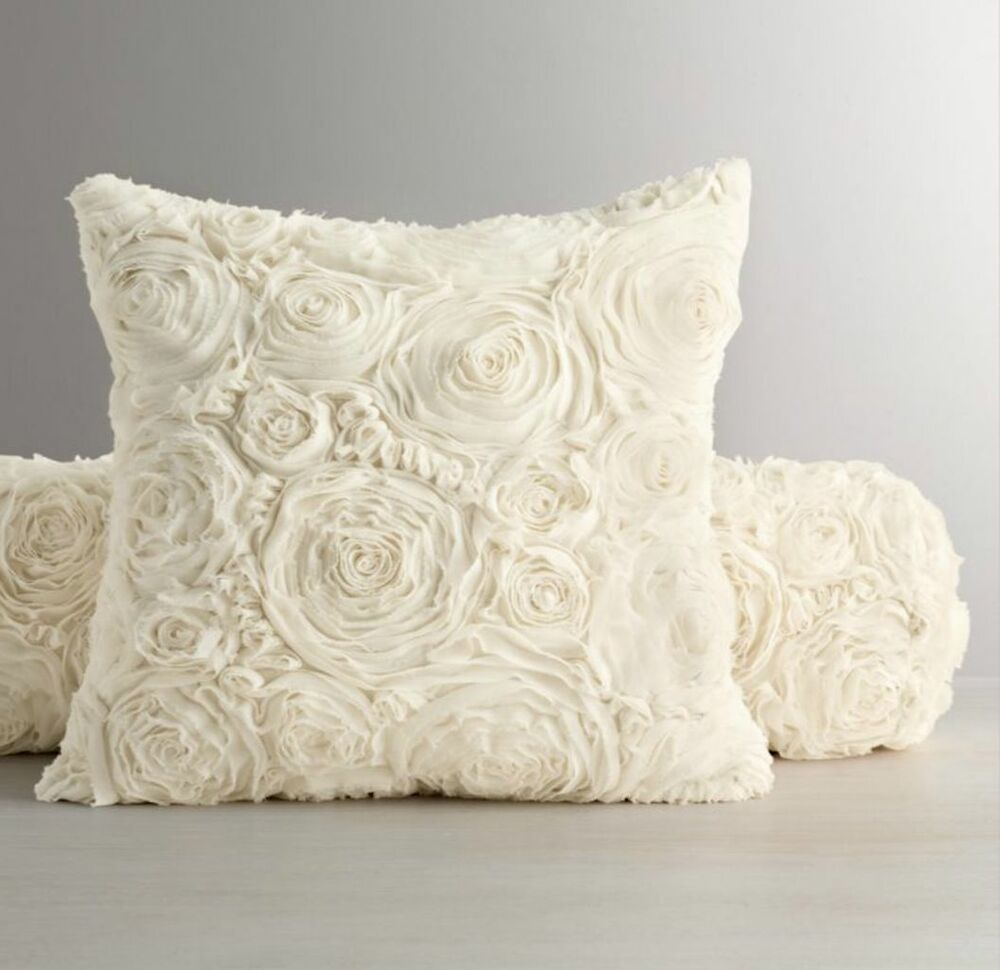 Restoration Hardware Chiffon Floral 8x36 bolster pillow cover...EXQUISITE IVORY! eBay
