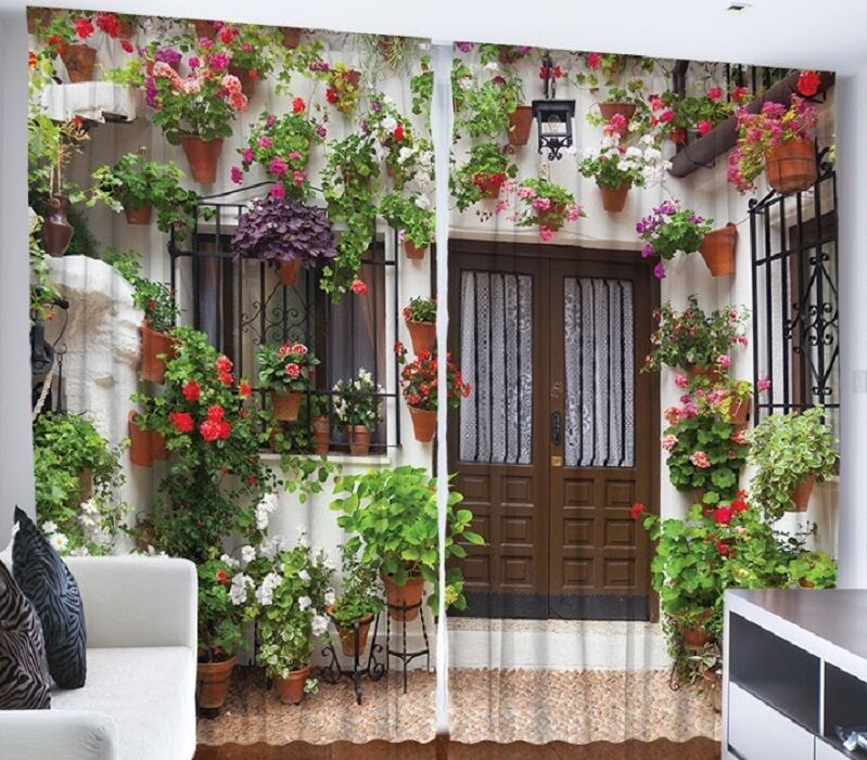 curtain panel set plants spanish house living room window ebay