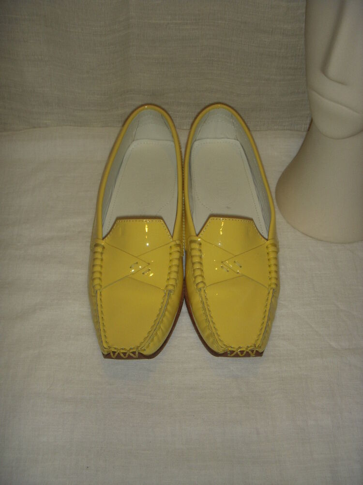 Tod S Yellow Leather Loafers Moccasin Shoes Women Size 7