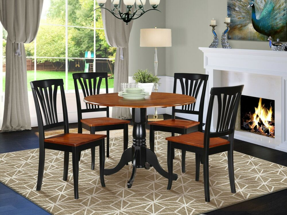 5pc dinette set 42 round drop leaf kitchen table 4 avon for Black kitchen table set