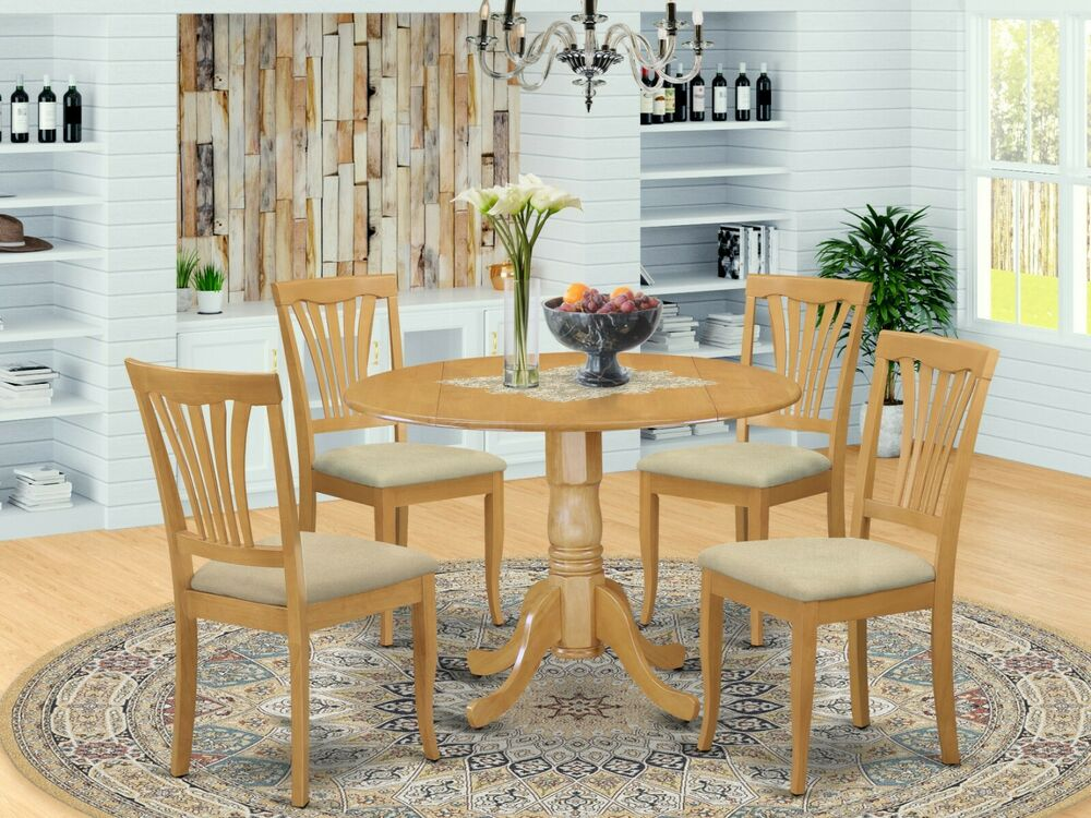 5pc Dinette Set 42 Round Drop Leaf Kitchen Pedestal Table 4 Padded Chairs Oak Ebay