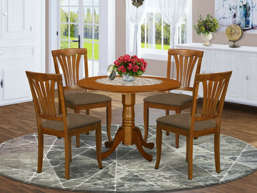 5pc dinette round drop leaf kitchen pedestal table 4 padded chairs cherry brown ebay - Pedestal kitchen table set ...