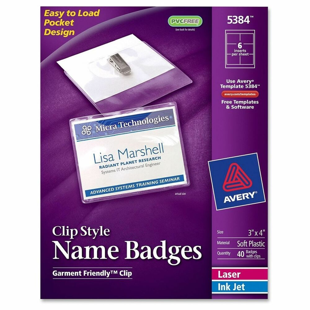 Avery 5384 Clip Style Name Badges 3x4 White Insertclear Badge