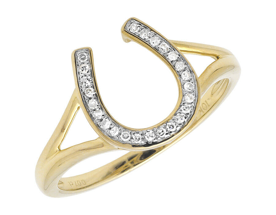10k yellow gold horseshoe symbol lucky charm pave