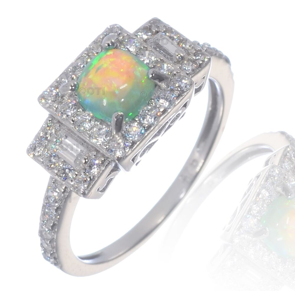 Princess Cushion Cut Promise Engagement Green Fire Opal Cz