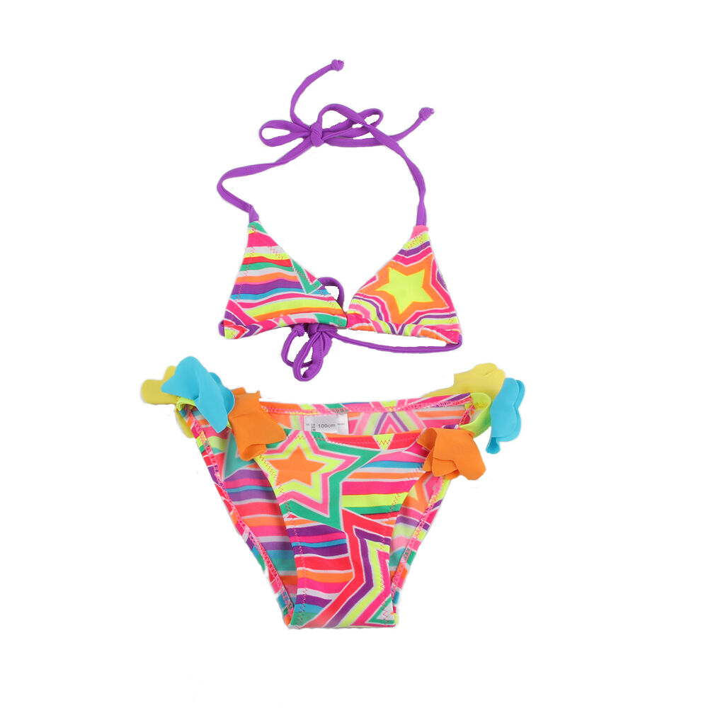 New Girls Kids Bikini Swimwear Swimsuit Falbalas
