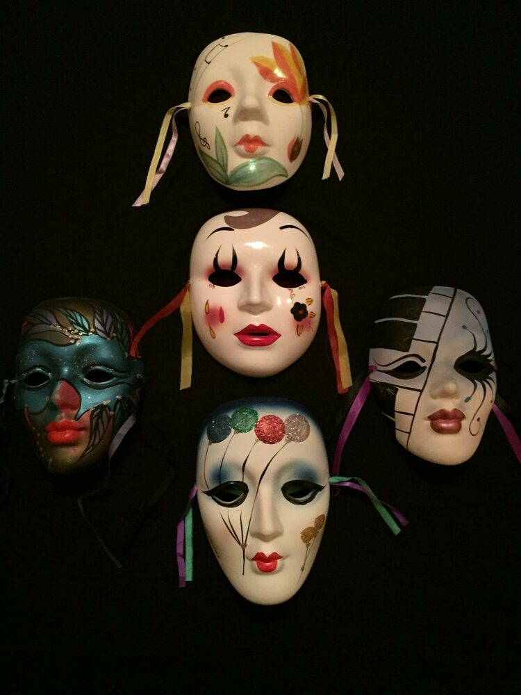 Decorative Wall Face Masks : Decorative five clay art ceramic face wall mask