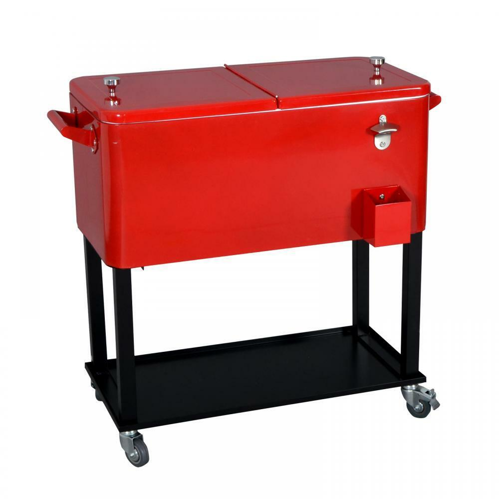 New Red 80 Quart Cooler Beer Cart Outdoor Entertaining