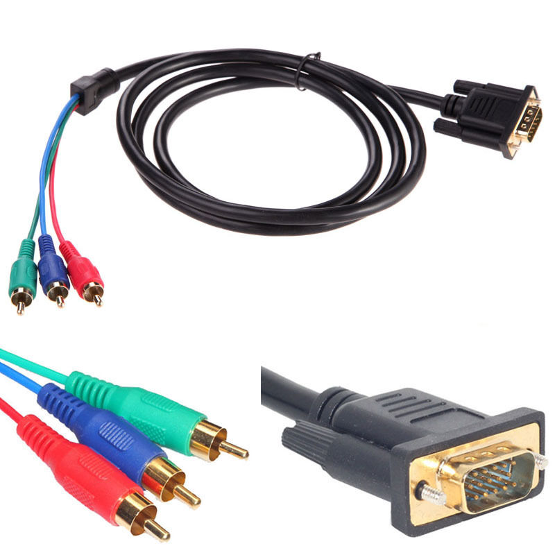 NEW Gold Plated 5FT VGA To TV RGB 3 RCA Component Adapter