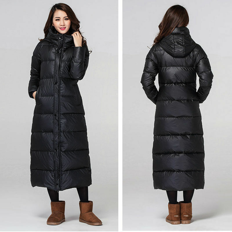 Women's Winter 90% Duck Down Jacket Full Length Hooded ...
