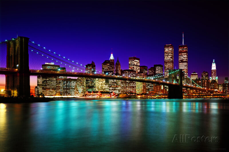 brooklyn bridge at night poster print 36x24 ebay. Black Bedroom Furniture Sets. Home Design Ideas