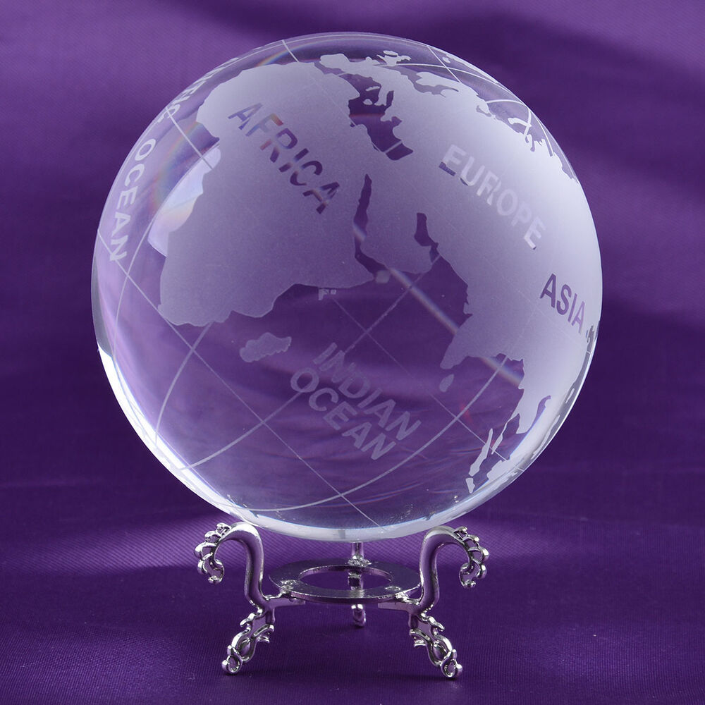 Longwin 100mm Frosted Clear Crystal Earth Globe World
