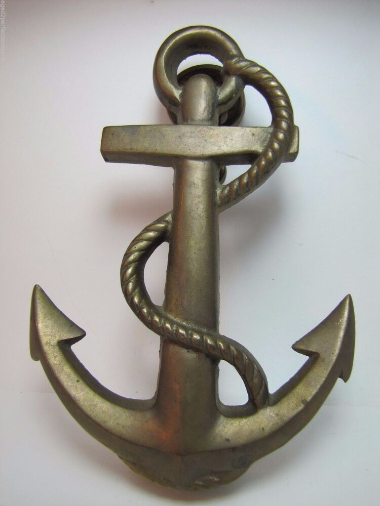 Vintage Brass Anchor Nautical Door Knocker Nicely Detailed