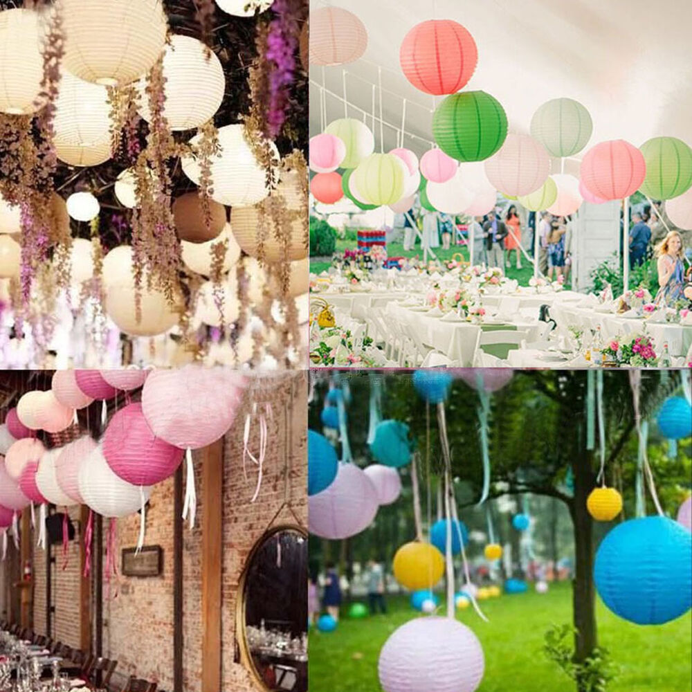 12 color 3 4 6 8 10 12 mutil color paper lanterns wedding for Decoration jardin soiree