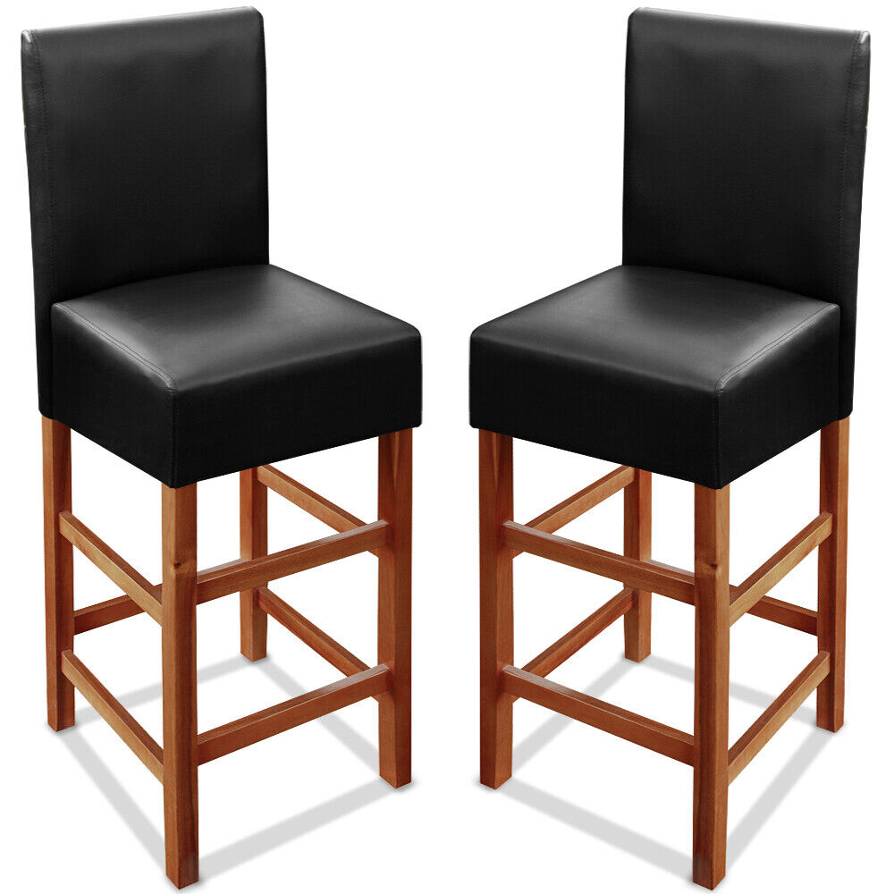 2x tabouret de bar bois dossier simili cuir noir avec repose pied 110x40x35 5 cm ebay. Black Bedroom Furniture Sets. Home Design Ideas