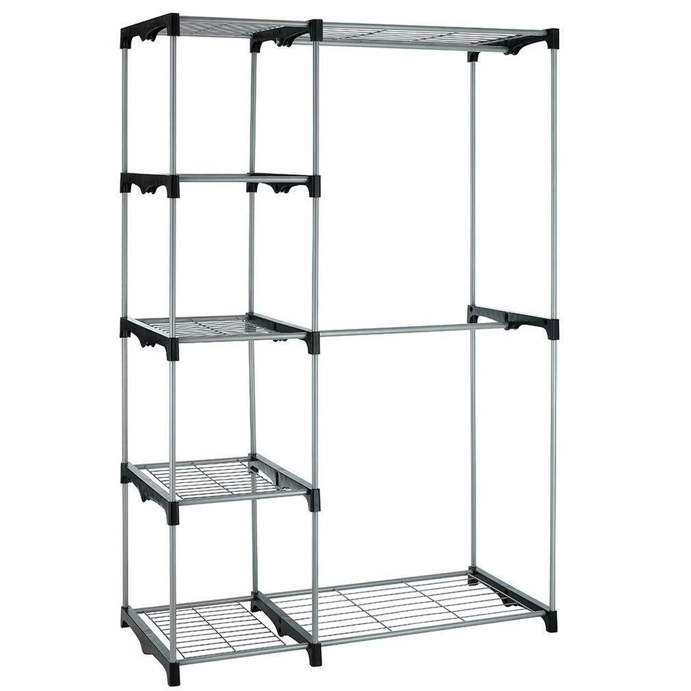 closet organizer storage rack portable clothes hanger home garment shelf rod g68 ebay. Black Bedroom Furniture Sets. Home Design Ideas