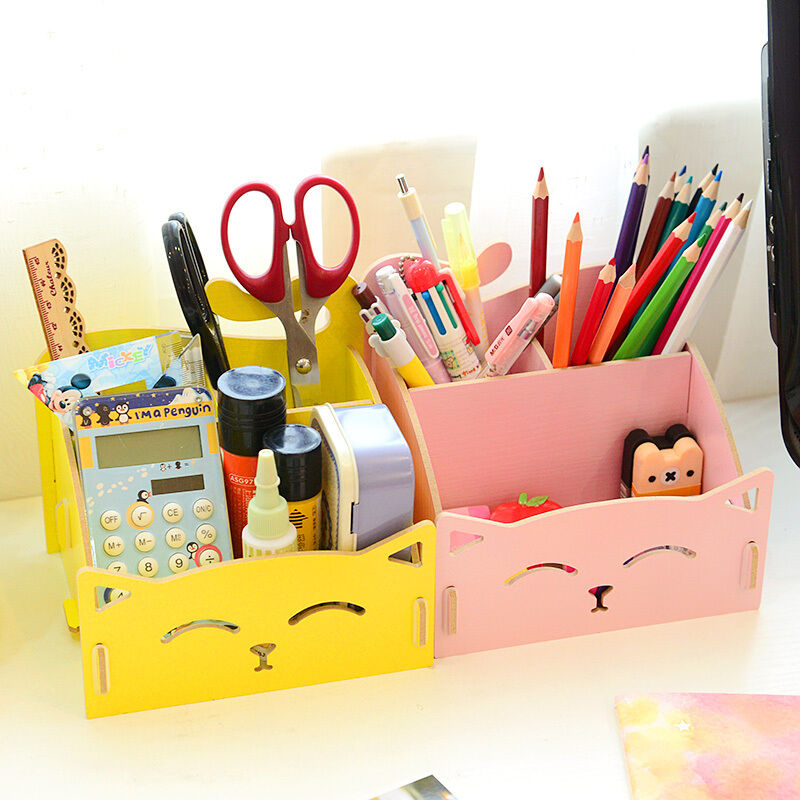 Cute cat woodden storage box office desk cosmetic - Cute desk organizer ...