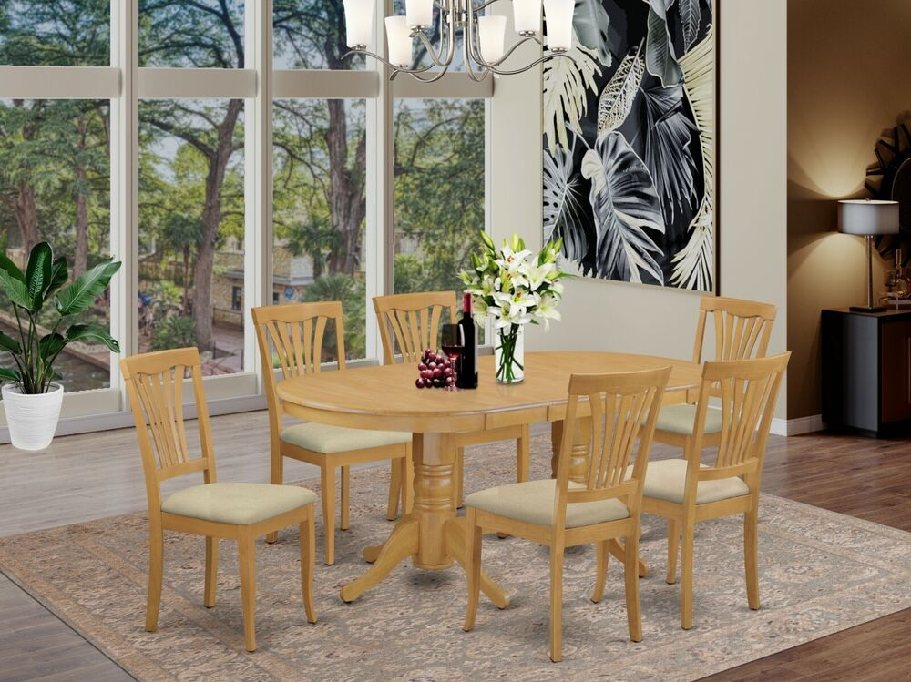 east west 7pc dining set vancouver oval table 6 avon. Black Bedroom Furniture Sets. Home Design Ideas