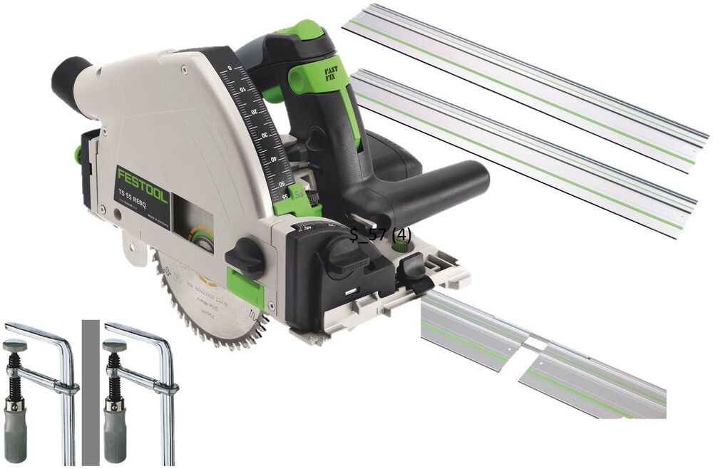 festool circular saw ts 55 req 2xguides 2xconnector clamps systainer blade 110v ebay. Black Bedroom Furniture Sets. Home Design Ideas