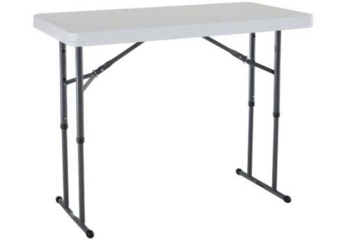 lifetime folding table 80160 48x24 adjustable height legs white plastic top ebay. Black Bedroom Furniture Sets. Home Design Ideas