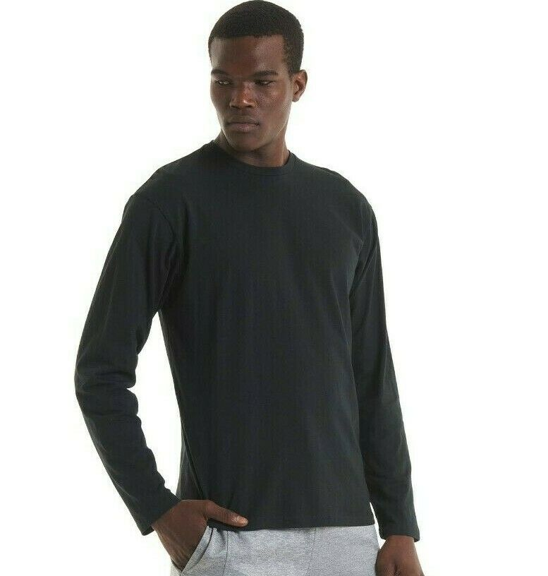 Uneek long sleeve t shirt 100 cotton mens work wear tee for Mens 100 cotton long sleeve t shirts