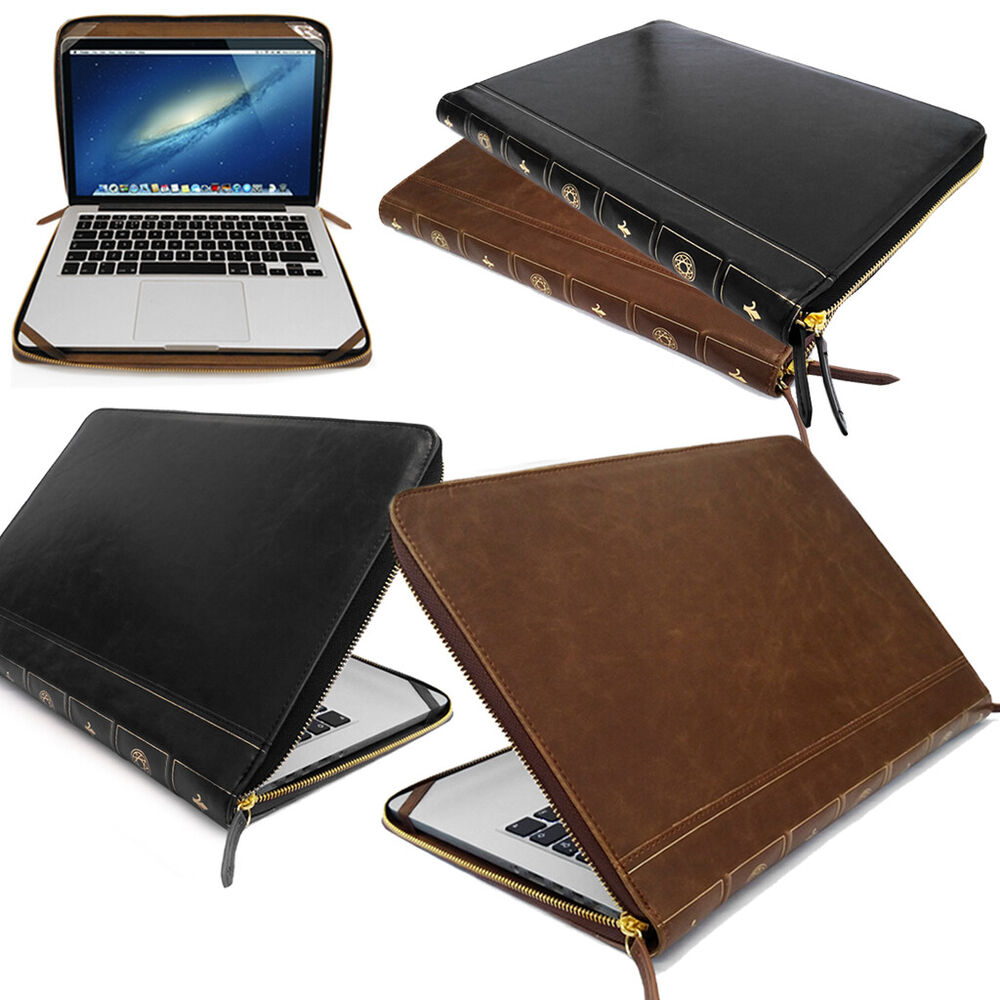 Book Cover Case : Smart leather vintage book laptop folio case cover sleeve
