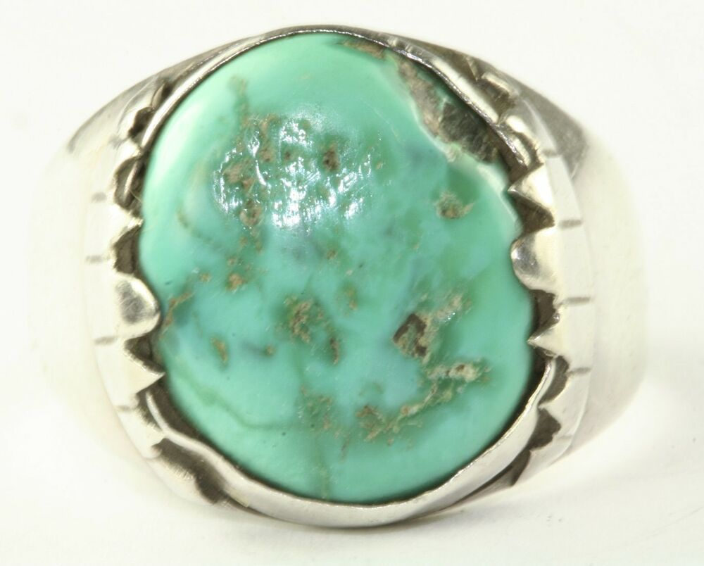 Vintage Sterling Silver Turquoise Mens Ring Size 12 25 Fg