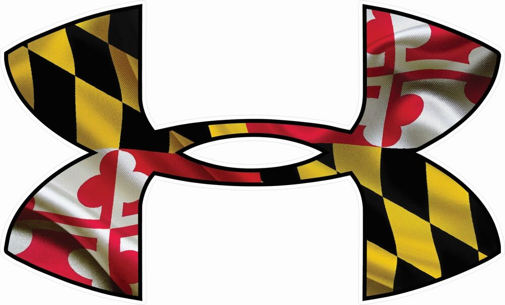 under armour maryland flag car window decals stickers set of three ebay. Black Bedroom Furniture Sets. Home Design Ideas