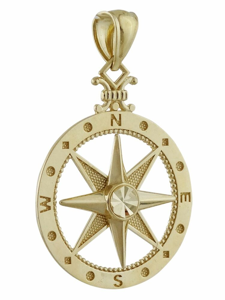 compass pendant 10k solid yellow gold pendant