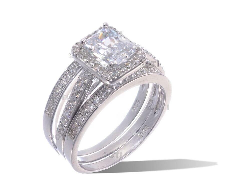 14k white gold sterling silver emerald cut cz engagement