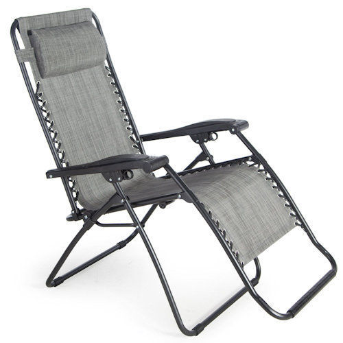 Gray Zero Gravity Chair Outdoor Recliner Lawn Patio Pool Camping Deck Beach Y