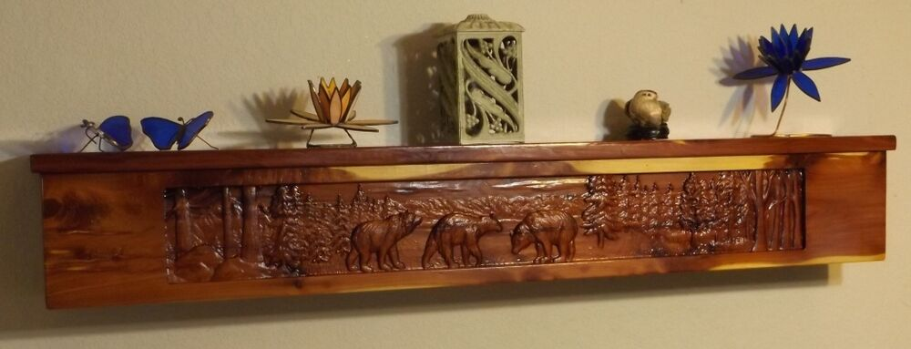 Carved Fireplace Mantel /Cedar/Shelf/ Rustic /Wood/ Cabin ...