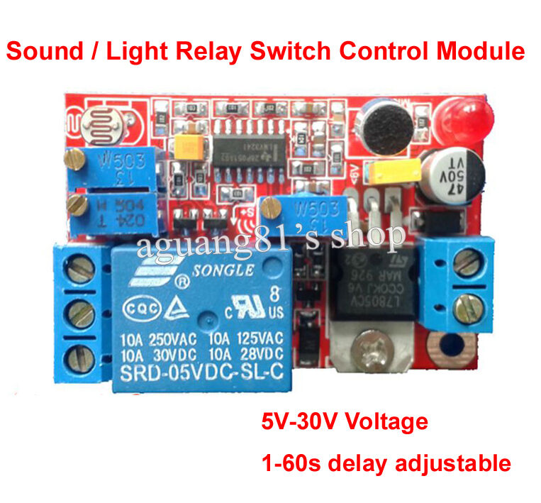 Sound And Light Control Delay Motion Sensor Switch For: DC 5V 12V 24V Sound Sensor / Light Control Delay Turn Off
