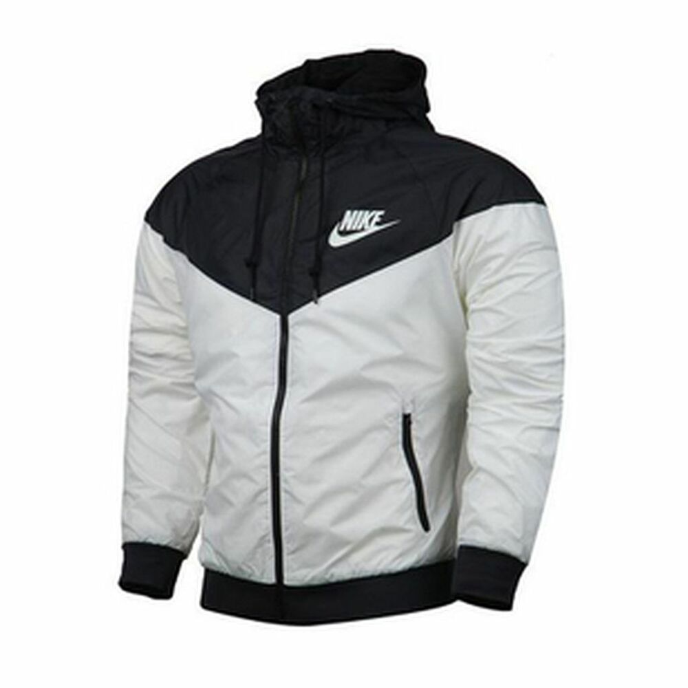 Nike Windrunner Men's Jacket Windbreaker Hoodie Black White ...