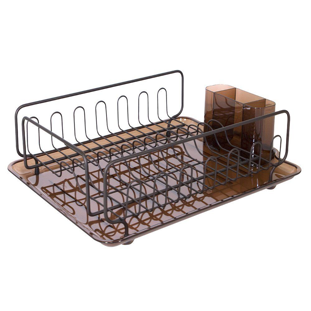 dish drainer tray rack kitchen drying holder organizer stainless steel cutlery ebay. Black Bedroom Furniture Sets. Home Design Ideas