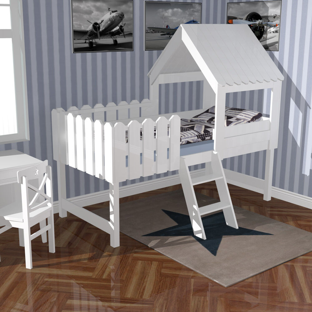 hochbett spielbett kinderbett baumhaus massivholz pinie weiss 90x200cm neu ebay. Black Bedroom Furniture Sets. Home Design Ideas