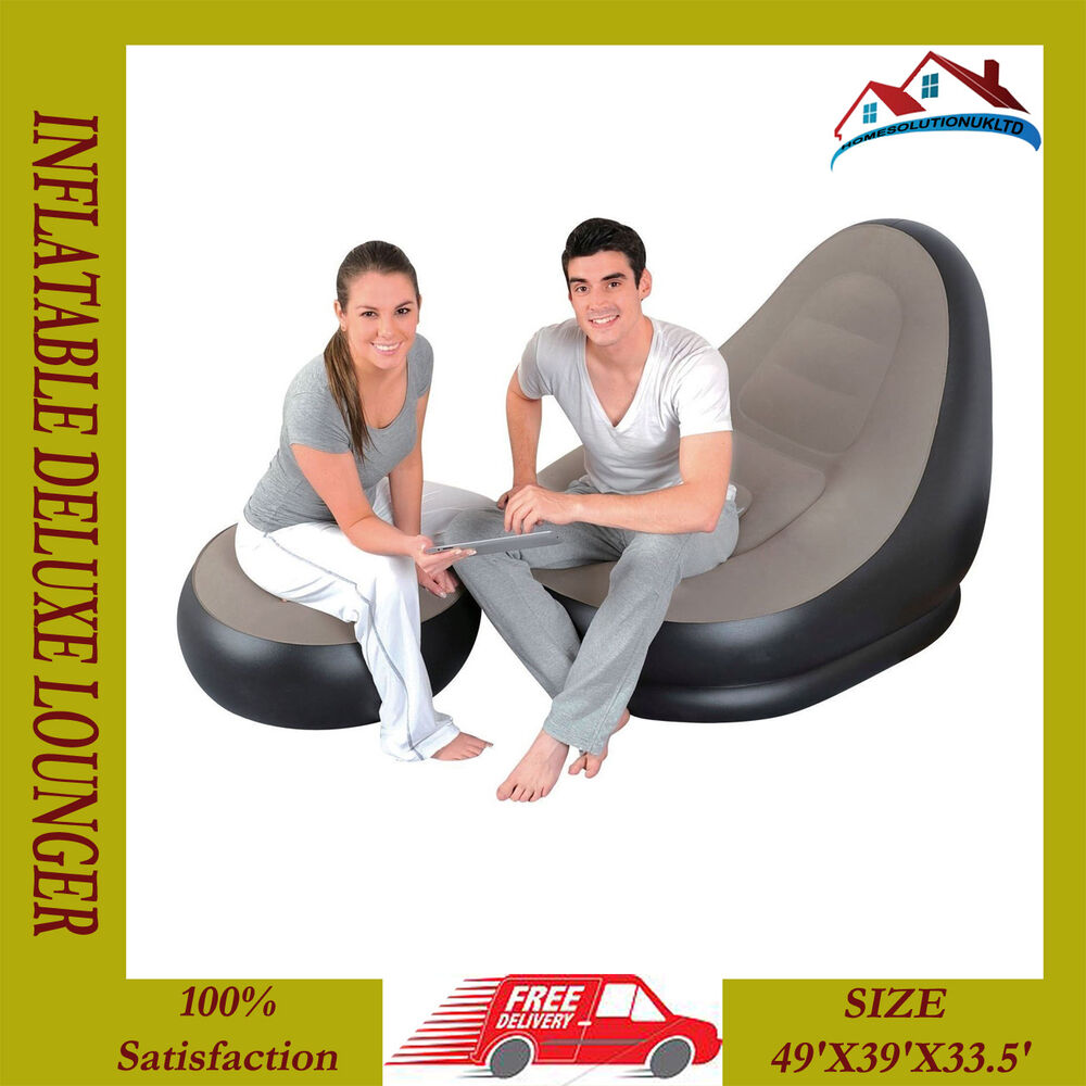 Inflatable flocked blow up single chair sofa gaming pod seat camping - New Deluxe Lounger Pod Inflatable Sun Sofa Camping Relax Chair Foot