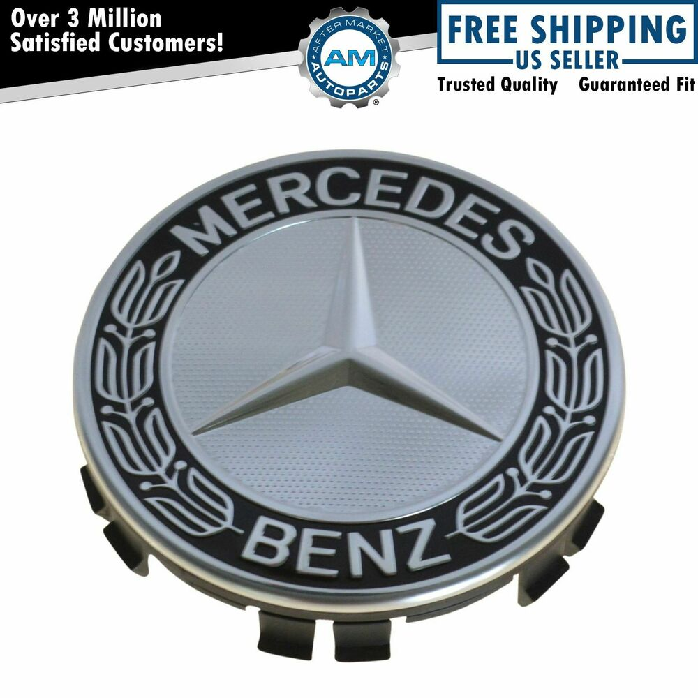 Oem wheel center cap black laurel wreath w star for for Mercedes benz wheel