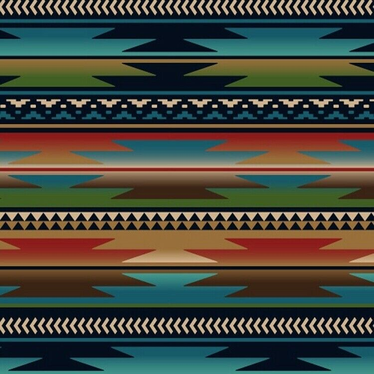 Sunset strip blue southwest fleece fabric print by the for By the yard interiors