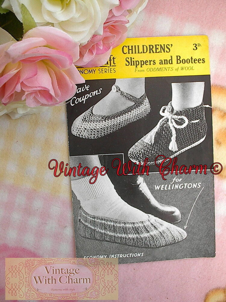 e2b7128c2ad Details about Vintage Knitting   Crochet Pattern For Childs Slippers    Knitted Wellington Sock