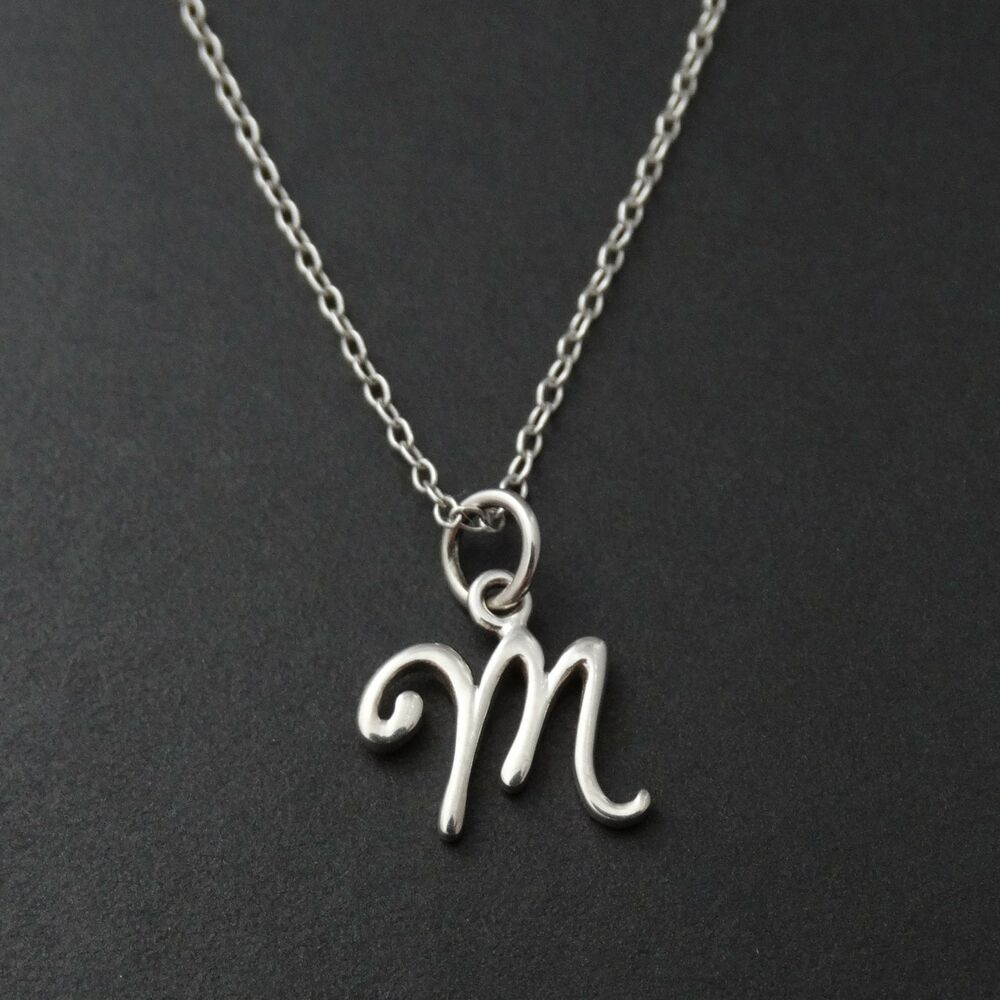 Sterling silver initial necklace ebay tiny initial letter m necklace 925 sterling silver name m letters charm new aloadofball