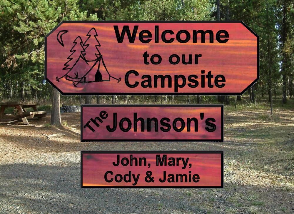 Personalized Custom Carved Camping Cedar Wood Sign Rustic