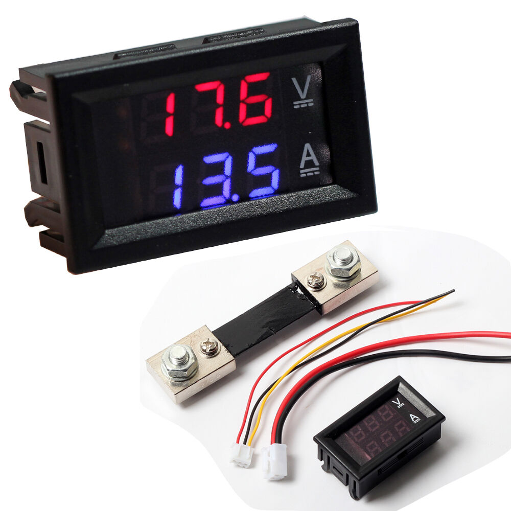 Digital Volt Meter : V a dc digital voltmeter ammeter blue red led amp