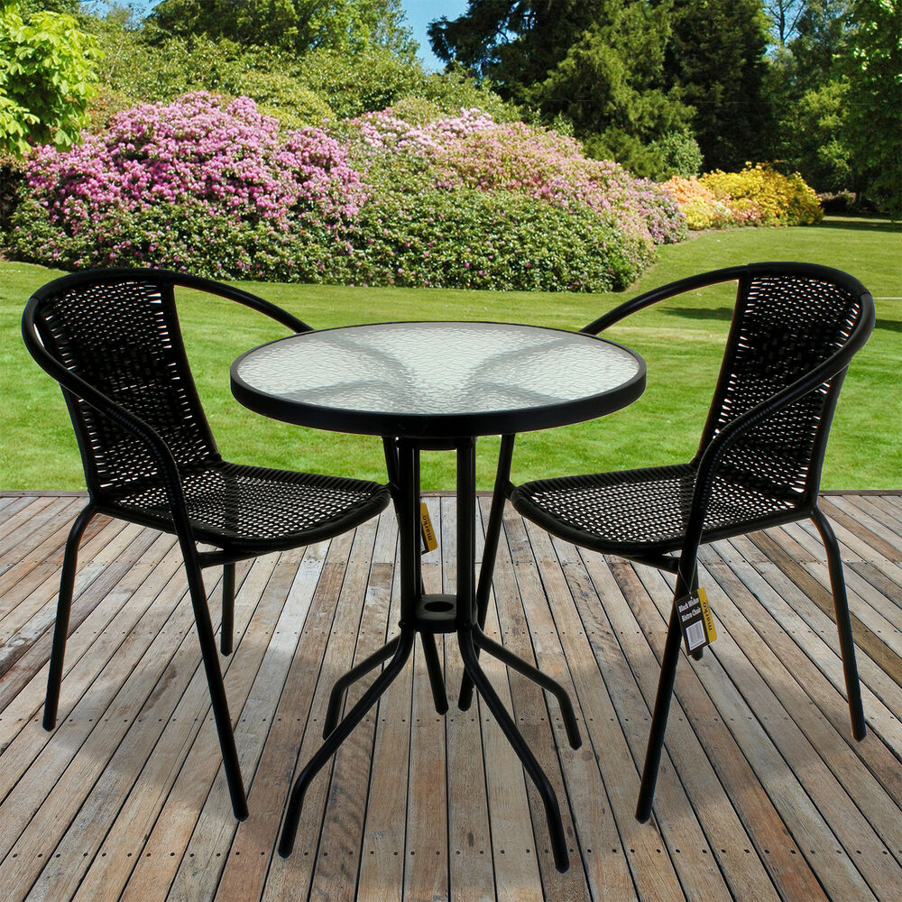 Rattan 3 Piece Glass Table Set Cafe Bistro Stacking Chair