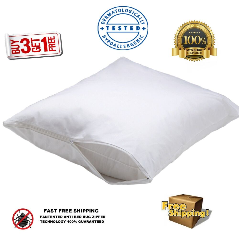 4 new white bed bug zippered pillow protectors pillow for Bed bug mattress and pillow protectors